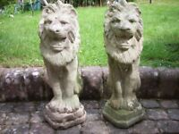 Upright lion ornaments, solid concrete, weathered, upright, height 23 inches