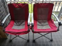 Camping Chairs - Set of 2 High Quality Fold up Chairs