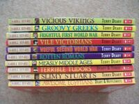 Horrible Histories Books, various x 10