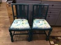 2 x chairs , painted sealed , laura ashley fabric