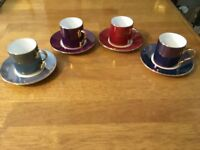 Coffee Cups & Saucers x 4 with Metallic Paint - Blue, Red, Purple & Duck Egg