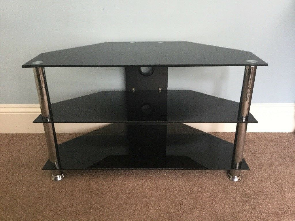 Black & Chrome TV Stand / TV Unit H48in/19cmW31.5in/80cmD16in/40cm