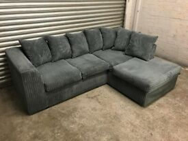 FREE DELIVERY GREY JUMBO CORD FABRIC L-SHAPED CORNER SOFA GREAT CONDITION