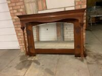 Lovely Antique Solid Oak Ornament Mirror - Can Deliver