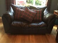 Sofa Sofas x2 pair genuine real leather brown