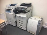 Three printers, scanners and photocopiers