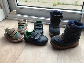 2 pairs of Infant Boys Clarks shoes, 1 pair of Boots
