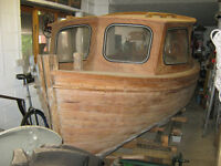 WOODEN FISHING / DAY BOAT / LAUNCH WITH INBOARD ENGINE (POSSIBLE STEAM BOAT CONVERSION)