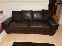 2 x black leather 3 seater sofas
