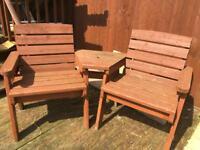 Wooden garden love seat