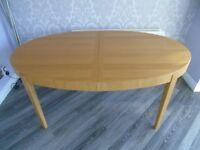 Oak Veneer Oval Extending Dining Table