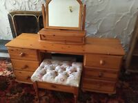 Excellent condition Solid Honey Pine Dressing Table & matching stool
