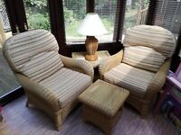 Wicker Conservatory Furniture Set - 2 armchairs, 2 side-tables, 1 table lamp