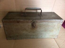 VINTAGE Metal TOOL. BOX for sale