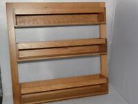 Solid oak wren kitchens living spice rack Brand new