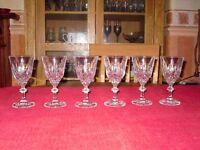 6 Crystal Wine glasses