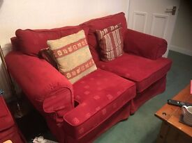 TWO (2 SEATER) SOFAS and LOOSE COVER FOOTSTOOL - 1st TO SEE WILL BUY! REDUCED FOR QUICK SALE