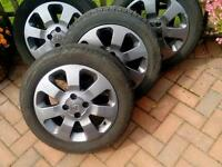 4x Gunmetal Grey Vauxhall Corsa/Astra alloy wheels, Very good condition, with recent tyres