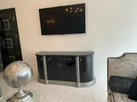 Luxury Black And Silver High Gloss Italian Tv Cabinet/console Table