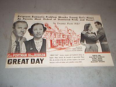 1946 GREAT DAY MOVIE PRESS BOOK STARRING ERIC PORTMAN & FLORA ROBSON - P 107