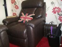 lazy boy brown leather chair