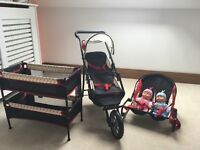Doll's twin playset. With double pushchair, twin travelcots and twin bouncer.
