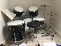 5 piece drum kit and stool.