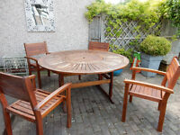 Garden Table (150cm dia.) With 4 Matching Chairs For Sale (Gardman cover included)
