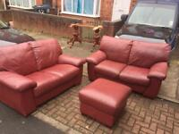 Lovely 2+2 plus foot stool leather sofas great collection