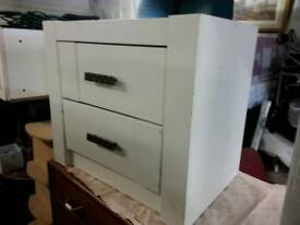 Bedside Cabinet - 2 Drawer Heavy Duty Solid White Bedside Cabinet