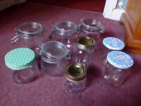 Set of kilner and other jam jars