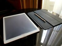 """Apple iPad Pro, Pencil, Keyboard - 12.9"""" 128GB, WiFi + 4G Cellular, White and Gold, Unlocked"""