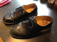 Dr Martin Black Shoes, Made in England, Size Eight and a Half, Leather Uppers