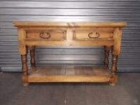 HALL TABLE MEXICAN PINE 2 DRAW UNIT