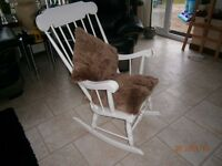 SOLID BEECH ROCKING CHAIR PAINTED WHITE WELL MADE AND IN GOOD CONDITION