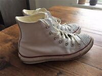 Genuine Converse Hi-Top trainers white leather ladies Size 5