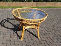 ROUND WOODEN TABLE & 2 SMALL OCCASIONAL TABLES