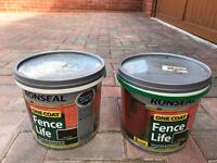 2 x 5l ronseal fence life one coat - dark oak new