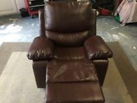 Brown Leather Single Recliner Chair