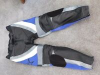 Motorbike leathers - jacket and trousers - worn, good quality.