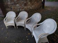 4 White Rattan Wicker Weave Chairs
