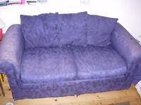 Well-used, but reasonable condition blue sofa bed (Cutteslowe)