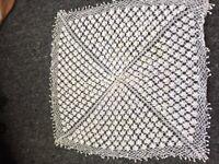 Cream vintage hand crocheted table cloth x 2