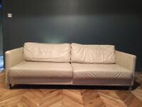 Bo Concept Cream leather sofa in good condition cost over £2000