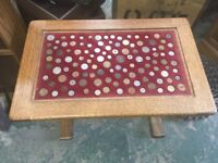 Coin inlayed Coffee Table made of Oak