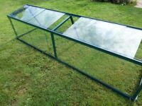 Large growhouse or cold frame with aluminium frame and toughened glass in excellent condition.