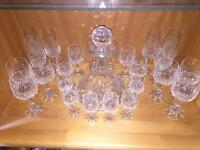 Zweisel German Hand Cut Lead Crystal Glasses (36) And Decanters (2) Set - Mint