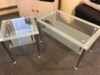 2 x Glass coffee tables with opaque edging and undershelf