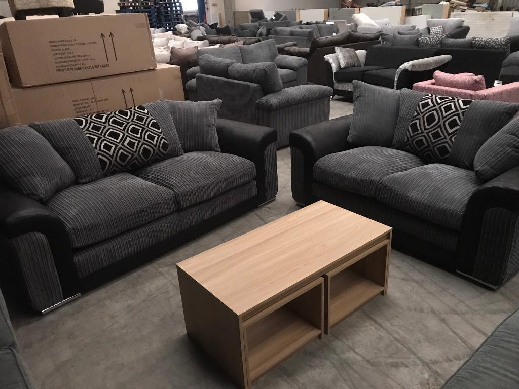 Brand new grey / black leather 3+ 2 seater sofas
