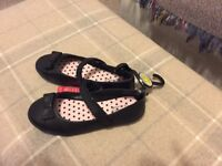 Girls M & S black school shoes size 3
